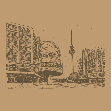 tv station: TV tower and world clock at Alexanderplatz train station, Berlin, Germany. Vector hand drawn sketch. Illustration