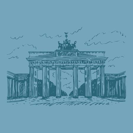 brandenburg: Brandenburg gate, Berlin, Germany. Vector hand drawn sketch.