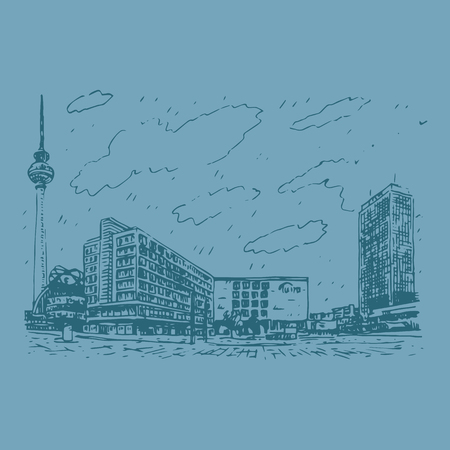 tv tower: Alexanderplatz, Berlin, Germany. Vector hand drawn sketch. Illustration