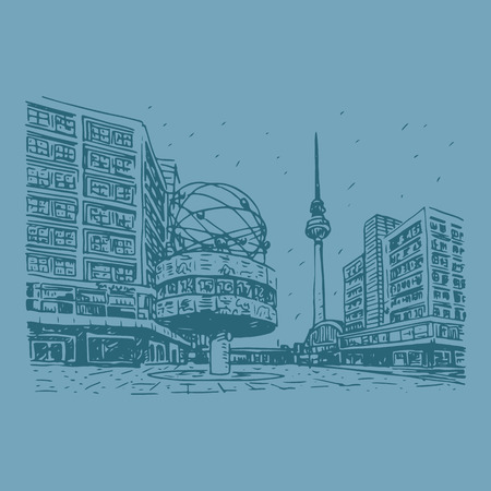 tv tower: TV tower and world clock at Alexanderplatz train station, Berlin, Germany. Vector hand drawn sketch. Illustration