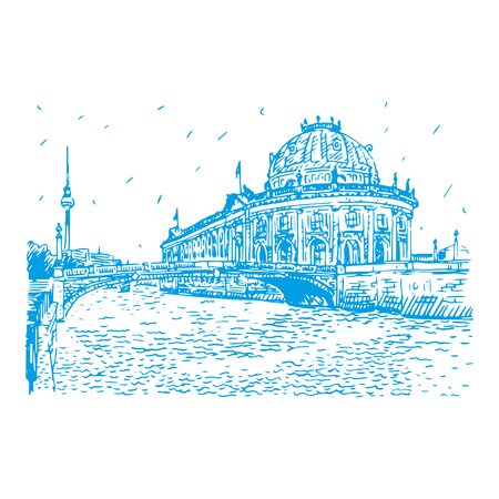 Bode museum on Spree river and Alexanderplatz TV tower in center of Berlin, Germany. Vector hand drawn sketch.