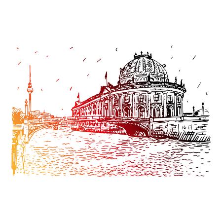 bode: Bode museum on Spree river and Alexanderplatz TV tower in center of Berlin, Germany. Vector hand drawn sketch.