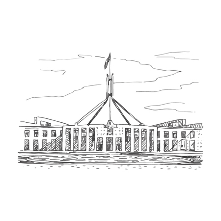 Parliament House in the Canberra, ACT, Australia. Vector freehand pencil sketch.
