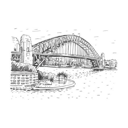 longest: The Harbour Bridge, Sydney, Australia. Vector freehand pencil sketch.