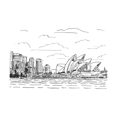 australia landscape: View of the Sydney Opera House, Australia. Vector freehand pencil sketch.