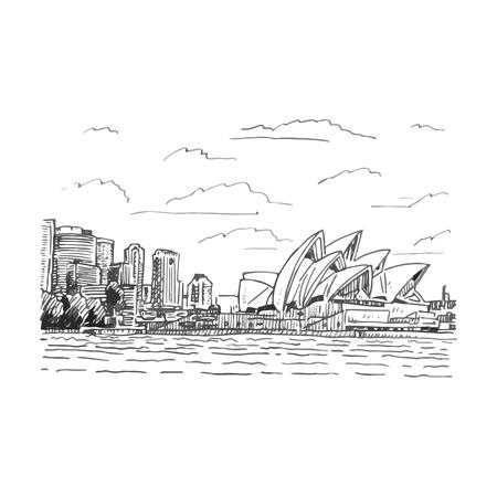 Vista de la Ópera de Sydney, Australia. Vector lápiz a mano alzada dibujo. Ilustración de vector