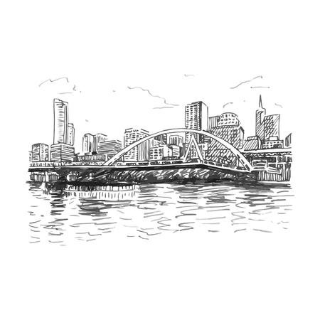 メルボルン、オーストラリアの眺め。サウスゲート ヤラ川を渡る歩道橋。ベクトル フリーハンド鉛筆スケッチ。