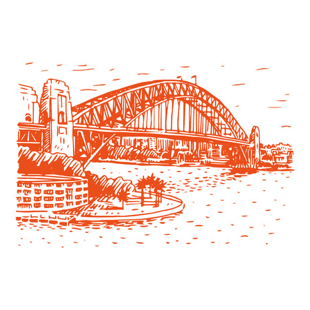 lookout: The Harbour Bridge, Sydney, Australia. Vector freehand pencil sketch.