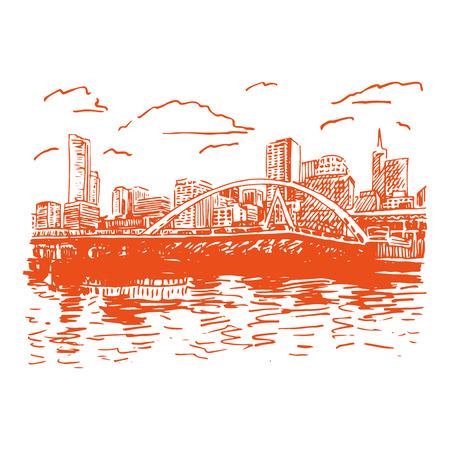 australia landscape: View of Melbourne, Australia. Southgate Footbridge across the river Yarra. Vector freehand pencil sketch.