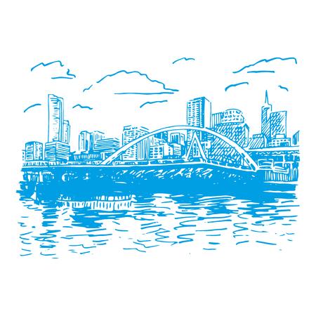 View of Melbourne, Australia. Southgate Footbridge across the river Yarra. Vector freehand pencil sketch.