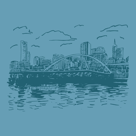 footbridge: View of Melbourne, Australia. Southgate Footbridge across the river Yarra. Vector freehand pencil sketch.