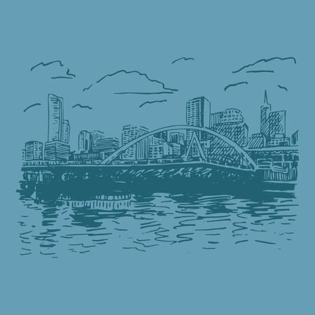 southgate: View of Melbourne, Australia. Southgate Footbridge across the river Yarra. Vector freehand pencil sketch.