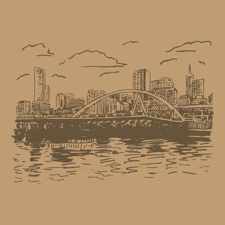 footbridge: View of Melbourne, Australia. Southgate Footbridge across the river Yarra. Vector freehand pencil sketch.