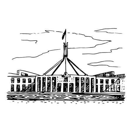 canberra: Parliament House in the Canberra, ACT, Australia. Vector freehand pencil sketch.