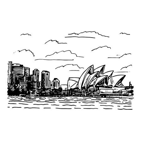 View of the Sydney Opera House, Australia. Vector freehand pencil sketch. Vector Illustration