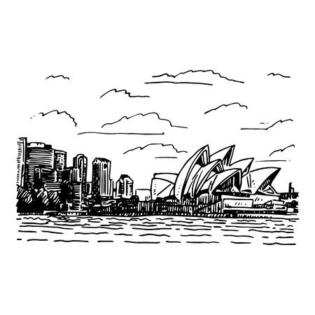 Vista del Teatro dell'Opera di Sydney, Australia. Vector matita a mano libera schizzo. Vettoriali