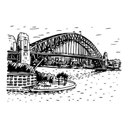 sketch: The Harbour Bridge, Sydney, Australia. Vector freehand pencil sketch.