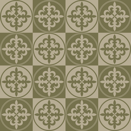 gold age: Beige seamless background. Royal elements in a gothic style. Ornament for a tiles and mosaics. Pattern for wallpaper and textile. Editable vector file. Illustration