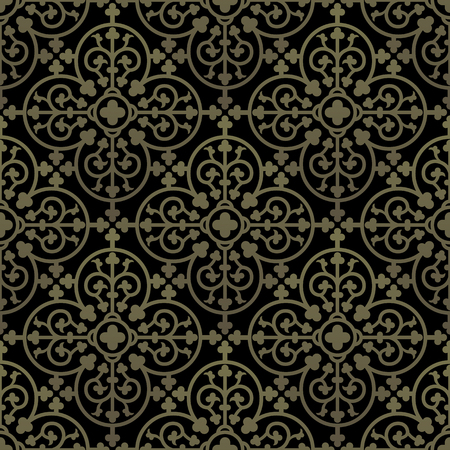 Golden gothic seamless pattern. Geometrical royal elements in a medieval style. Ornament for a tiles and mosaics. Vector illustration 向量圖像