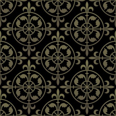 Golden gothic seamless pattern. Geometrical royal elements in a medieval style. Ornament for a tiles and mosaics. Vector illustration Illustration