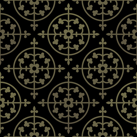 gothic style: Golden gothic seamless pattern. Geometrical royal elements in a medieval style. Ornament for a tiles and mosaics. Vector illustration Illustration