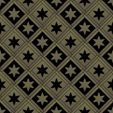 gold age: Golden gothic seamless pattern. Geometrical royal elements in a medieval style. Ornament for a tiles and mosaics. Vector illustration Illustration