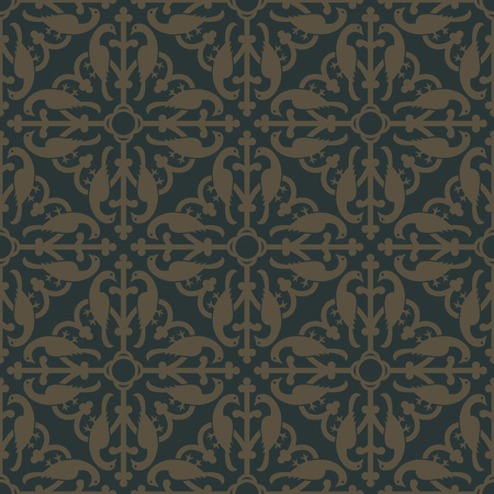 gold age: Golden seamless pattern on a dark green background. Royal elements in a gothic style. Ornament for wallpaper, fabrics, tiles and mosaics. Vector illustration