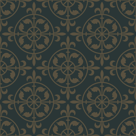 flower age: Golden seamless pattern on a dark green background. Royal elements in a gothic style. Decoration for wallpaper, fabrics, tiles and mosaics. Vector illustration