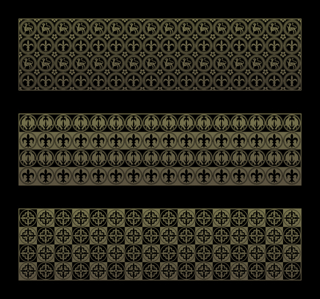 emblematic: Gold seamless pattern with royal elements in a gothic style. Ornament for a tiles and mosaics. Vector background.