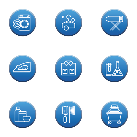drycleaning: Set of laundry vector icons, dry-cleaning objects, blue button