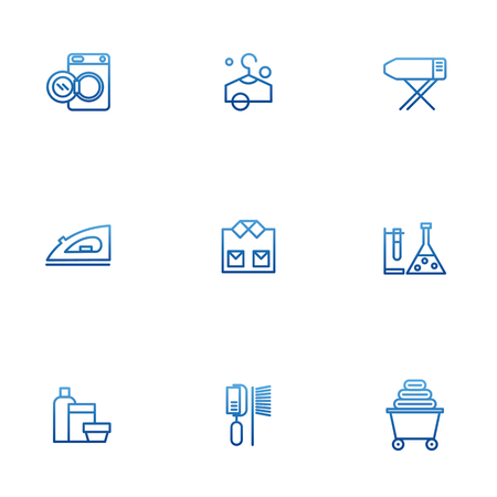 drycleaning: Dry-cleaning vector icons, laundry objects