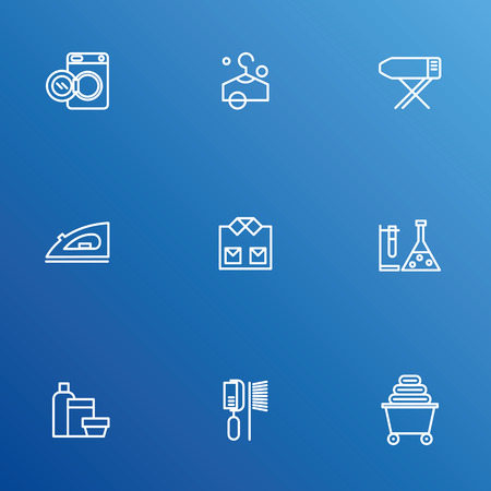 drycleaning: Laundry vector icons, dry-cleaning objects Illustration