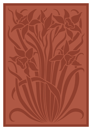 sienna: Silhouette of flowers ornament. Figure bouquet in the form of a stencil. Terracotta vector background