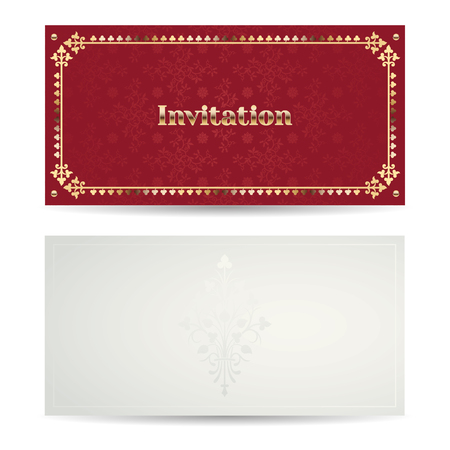 terracotta: Vector vintage luxury horizontal invitation with a beautiful pattern and border. Front and back side. Terracotta and gold.