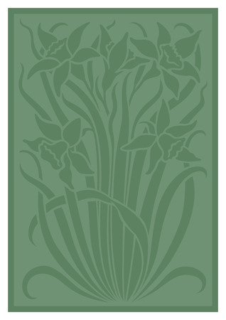 stenciled: Green silhouette of flowers ornament. Figure bouquet in the form of a stencil. Vector background
