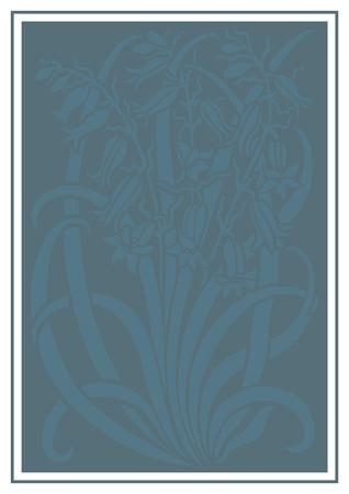 silueta azul de flores de adorno. Figura ramo en forma de una plantilla. Modelo del vector con campanulas