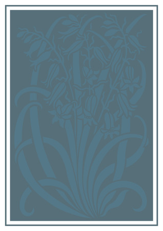 Blue silhouette of flowers ornament. Figure bouquet in the form of a stencil. Vector pattern with campanulas