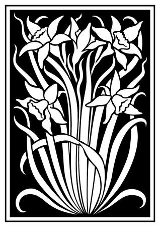 silueta blanca de flores de adorno en un fondo negro. Figura ramo en la forma de una plantilla
