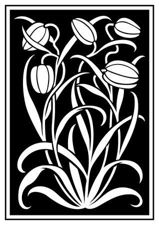 White silhouette of flowers ornament on a black background. Figure bouquet in the form of a stencil. Vector pattern with tulips