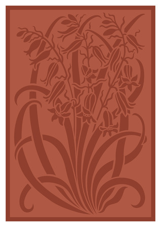 sienna: Silhouette of flowers ornament. Figure bouquet in the form of a stencil. Vector pattern with campanulas. Terracotta vector background