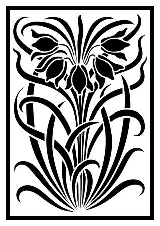 Vector negro silueta de flores ornamento. Figura ramo en la forma de una plantilla