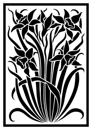 silueta del vector negro de flores de adorno. Figura ramo en la forma de una plantilla
