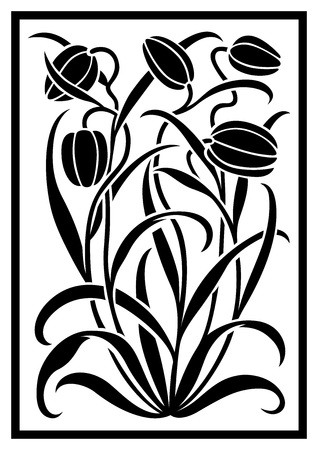 herbaceous border: Black silhouette of flowers ornament. Figure bouquet in the form of a stencil. Vector pattern with tulips