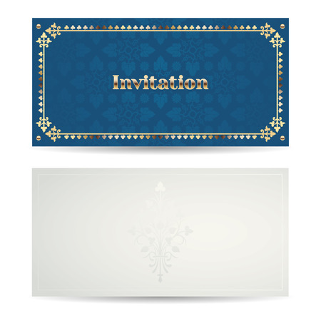 side border: Vector vintage luxury horizontal invitation with a beautiful pattern and border. Front and back side. Azure and gold. Illustration