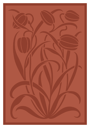 sienna: Silhouette of flowers ornament. Figure bouquet in the form of a stencil. Vector pattern with tulips. Terracotta vector background