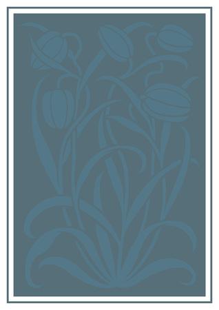 silueta azul de flores de adorno. Figura ramo en forma de una plantilla. Modelo del vector con los tulipanes