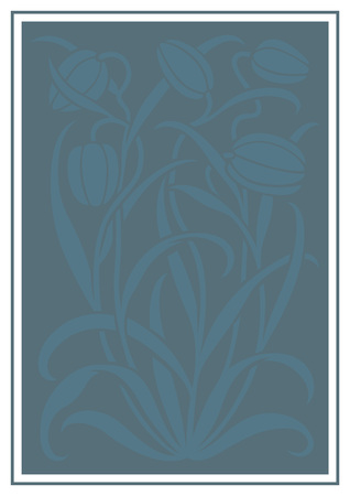 Blue silhouette of flowers ornament. Figure bouquet in the form of a stencil. Vector pattern with tulips Vectores