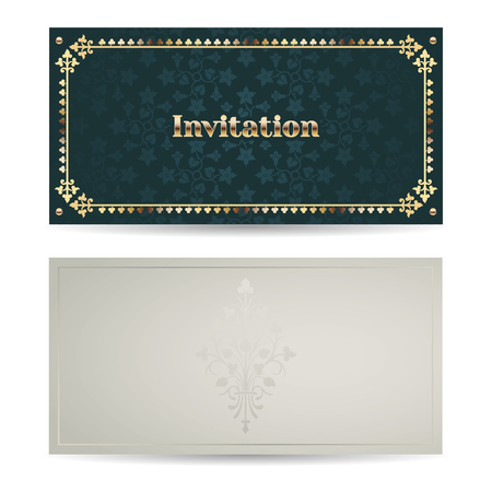 side border: Vector vintage luxury horizontal invitation with a beautiful pattern and border. Front and back side. Emerald and gold. Illustration