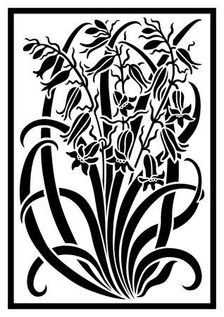 Negro silueta de las flores ornamento. Figura ramo en forma de una plantilla. Modelo del vector con campanulas
