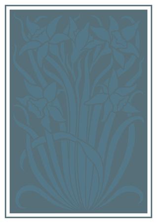 silueta azul de flores de adorno. Figura ramo en forma de una plantilla. fondo del vector